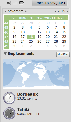"Capture d'écran ""horloge"" de Gnome : Bordeaux et Tahiti"